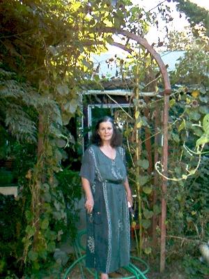 Anita Sands Hernandez,                                     author, mother, astrologer, activist                                     and cat lady in her garden in Reseda                                     California